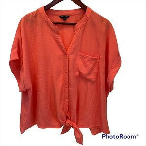 Tahari women's top size xxl coral button front and waist tie EUC